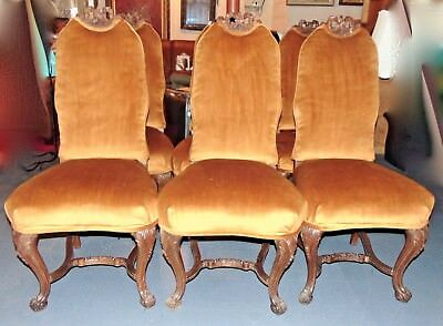Set of 6 Antique Queen Anne Carved Wood & Velvet Seat Victorian Dining Chairs