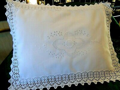 """Beautiful,Vintage Bed Cushion Cover/Lingerie Case. Embroidery/Lace GC 12.5"""" x 17"""