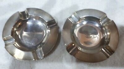 Pair of solid silver ashtrays