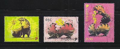 Singapore 2010 Zodiac Year Of Tigers Comp. Set Of 3 Stamps Fine Used Condition