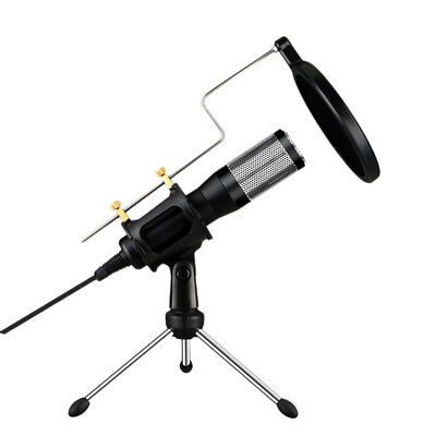 USB Plug&Play Condenser Microphone with Pop Filter&Stand for Voice Recording