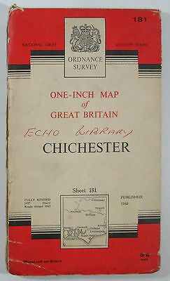 1965 old vintage OS Ordnance Survey one-inch seventh series map 181 Chichester