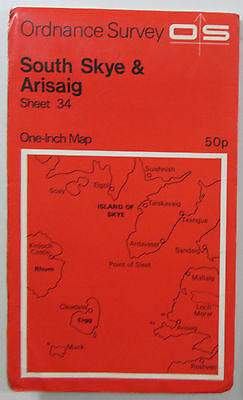 1970 old OS Ordnance Survey one-inch Seventh Series Map 34 South Skye & Arisaig