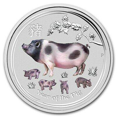2019 ~ 2~OZ .9999 SILVER ~ COLORIZED ~ YEAR of the PIG ~ PERTH MINT ~GEM~ $64.88
