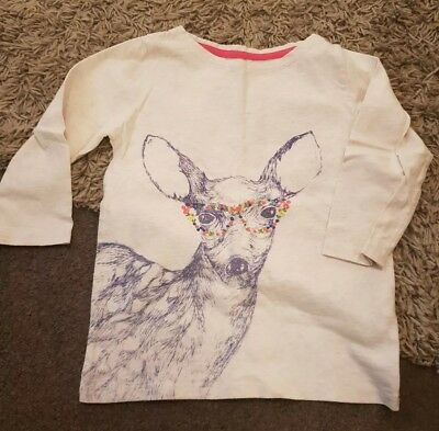 Girls Mini Boden Embroidered Deer T-shirt - Age 5-6yrs