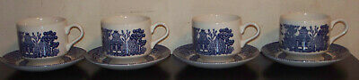 4 Sets of Blue Willow Cups and Saucers Churchill made in England very good