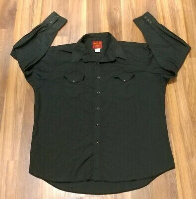 RUSTLER by Wrangler Long Sleeve Pearl Snap Western BLACK Shirt  18 34 / 35