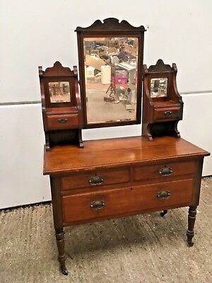 ANTIQUE DRESSING TABLE, Victorian, mahogany, very ornate with drawers & mirror
