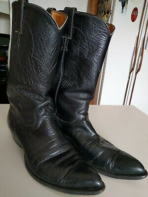 VTG Justin USA Mens 10 Cowboy Western Pointed Toe Boots Black Leather Handmade