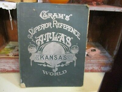 1907 Cram's Superior Reference Atlas of Kansas and the world complete 15X12