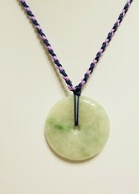Burma Jade Pendant Of Ring (平安扣) 32.5 mm Diameter With Purple / Blue Neck Cord