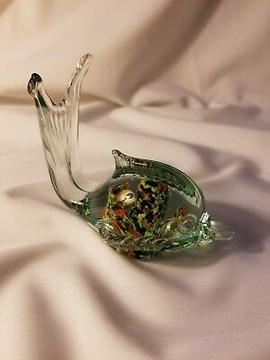 HAND-BLOWN GLASS Fish Multi color 3 inches With Tail Upwards