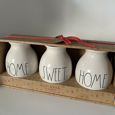 Rae Dunn 3 Piece Bud Vase Set Home Sweet Home New In Box