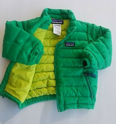 Patagonia Goose Down Puffer Coat Jacket Green Baby Size 9 to 6 months