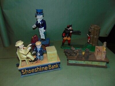 Lot Vintage Cast Iron Banks cat and mouse shoeshine bank William Tell Uncle Sam