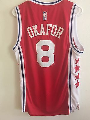 2016 Jahlil Okafor Philadelphia 76ers Sixers Red Away Stitched Adidas Jersey 4d0ae7703