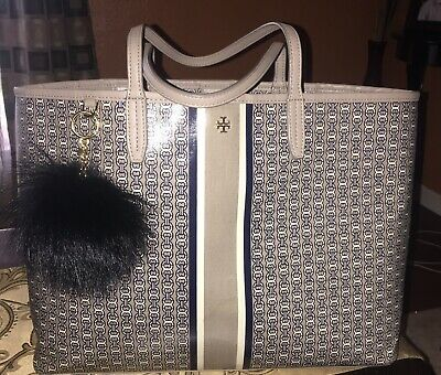 30dfcfd4a69 TORY BURCH GEMINI Link Coated Canvas Tote French Gray