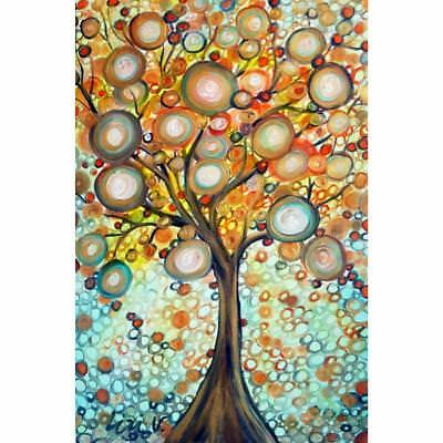 Fall Tree Painting Original Whimsical Landscape Artwork on Large Canvas Gold