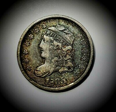 1835 Capped Bust Half Dime, Lg Date, Sm 5C VF/XF. Great rainbow color!  READ!
