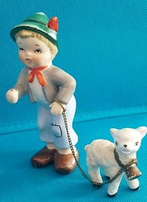 Vintage BOY with SHEEP ON CHAIN Figurine 6297A