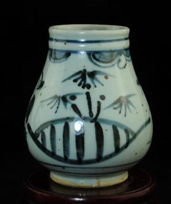 Old Chinese Hand-Made Blue And White Porcelain Hand Painted Character Pot B02