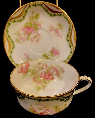 Hand Painted Theo Haviland Limoges 1800s Teacup Cup and Saucer Porcelain
