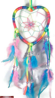 """4.5"""" Multi-color Heart Dream Catcher With Beads & Feathers Wall Or Decoration"""