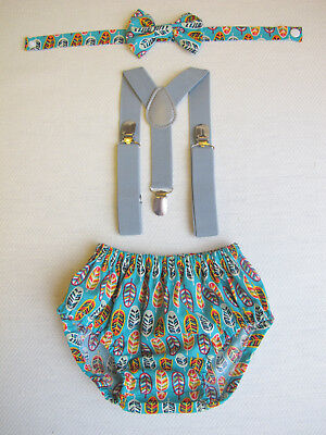 Cotton Handmade BOY CAKE SMASH OUTFIT. 1st Birthday Set. Photo Prop / Suspenders