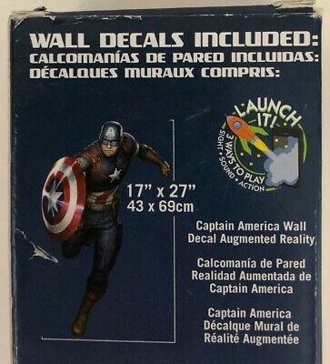 """Marvel Captain America 17""""x27"""" Wall Decal Removable & Disposable 8 Bonus Decals"""