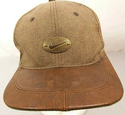 67861156ea37d Vintage Nike Golf Hat Cap Strapback Brown Leather Bill Bronze Swoosh Logo