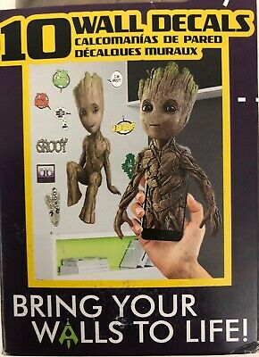 """Marvel Groot 15""""x26"""" Kids Wall Decal Augmented Reality 9 Smaller Bonus Decals"""
