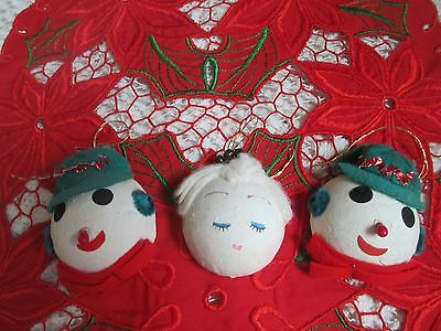 Vintage Christmas Paper Mache Ornaments--Snow Men & Lady--Merc/foil/bead