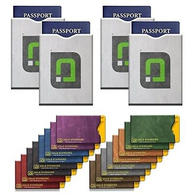 20 RFID Blocking Sleeves (16 Credit Card Holders in Gold amp 4 Passport Protec