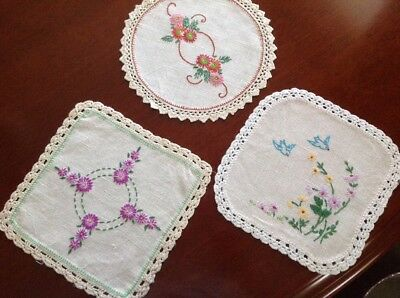 Vintage Hand Embroidered Linen Doily X 3