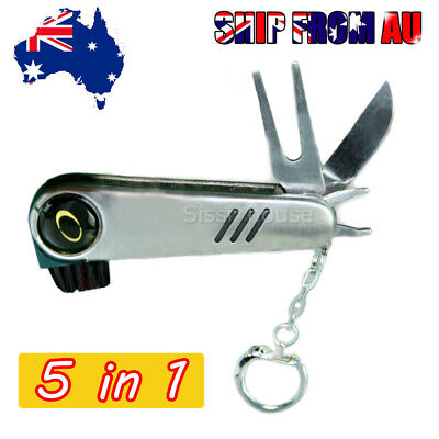 Multi-functional Golf Green Fork Divot Stainless Steel Repair Tool 5 IN 1 Gifts