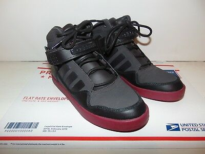 ADIDAS HIGH TOP Kids Unisex Athletic Sneaker Size 4 1 2 Black Burgundy Color 01f3683e0535