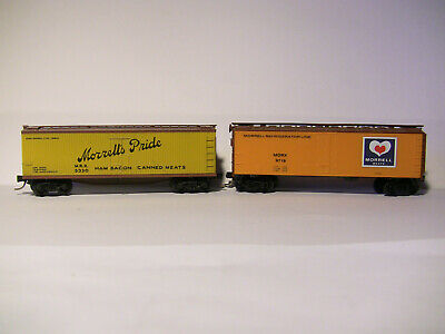 N SCALE - 2 x 40' (MTL) MORRELL'S MEAT PRODUCTS wood sided reefers