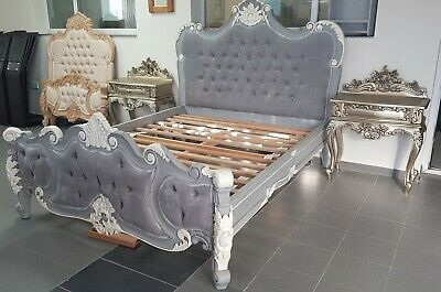 Hand carved and painted french rococo king size upholstered bed . Also others