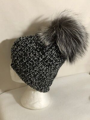 a4d6353ec74 OS Womens Kyi Kyi Genuine Extra Big Fox Fur Pom Pom Knit Beanie Hat Black  Tweed