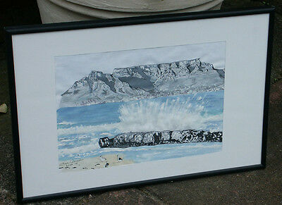 Drawing: Table Mountain ORIGINAL PEN, WATER-COLUR SIGNED drawing