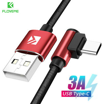 Floveme 90°Elbow Fast Charging USB Type C Cable Data Cord For Samsung S10 Huawei