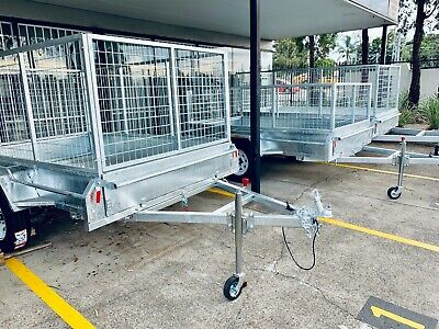 New 8x5 Full Welded Galvanised Box Trailer with 900mm Cage & Tipping