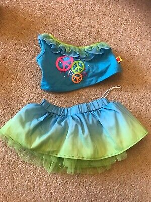 build a bear girl top and skirt blue green