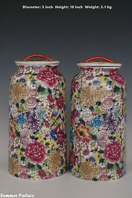 Fine Beautiful Chinese Pair Famille Rose Porcelain Million Flowers Tea Caddies