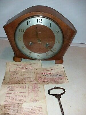 1960 Smiths  2 hole Mantel Clock  with  key & original paperwork