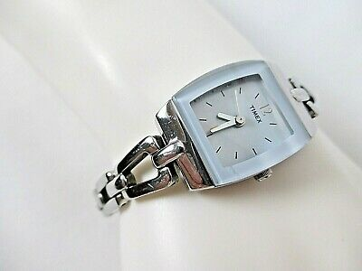 Ladies Wristwatch Timex Analog Square Face Blue Trim  Silvertone Link w/2nd Hand