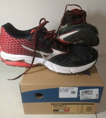 on sale ebb4a d2953 MIZUNO WAVE RIDER 18 Men's Running Shoe Red/Black/Gray - Size 12 M - SHIPS  FREE