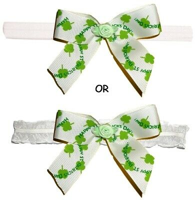 ST PATRICK'S DAY Baby Stretch Elastic Headband Foe Hair Bow Four Leaf Clover