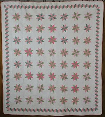 Beautiful Quilting! Vintage Feedsack Star QUILT Great Border Detail