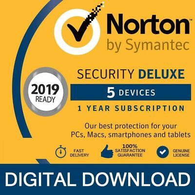 2019 Norton Internet Security DELUXE 2019 ( 5 Devices 5 Geräte )- PC/Mac/Android